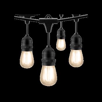 LED String Lights, 14 Bulbs, 24 FT. Black Cord, Linkable